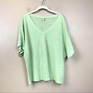 Eileen fisher organic linen green short sleeve top
